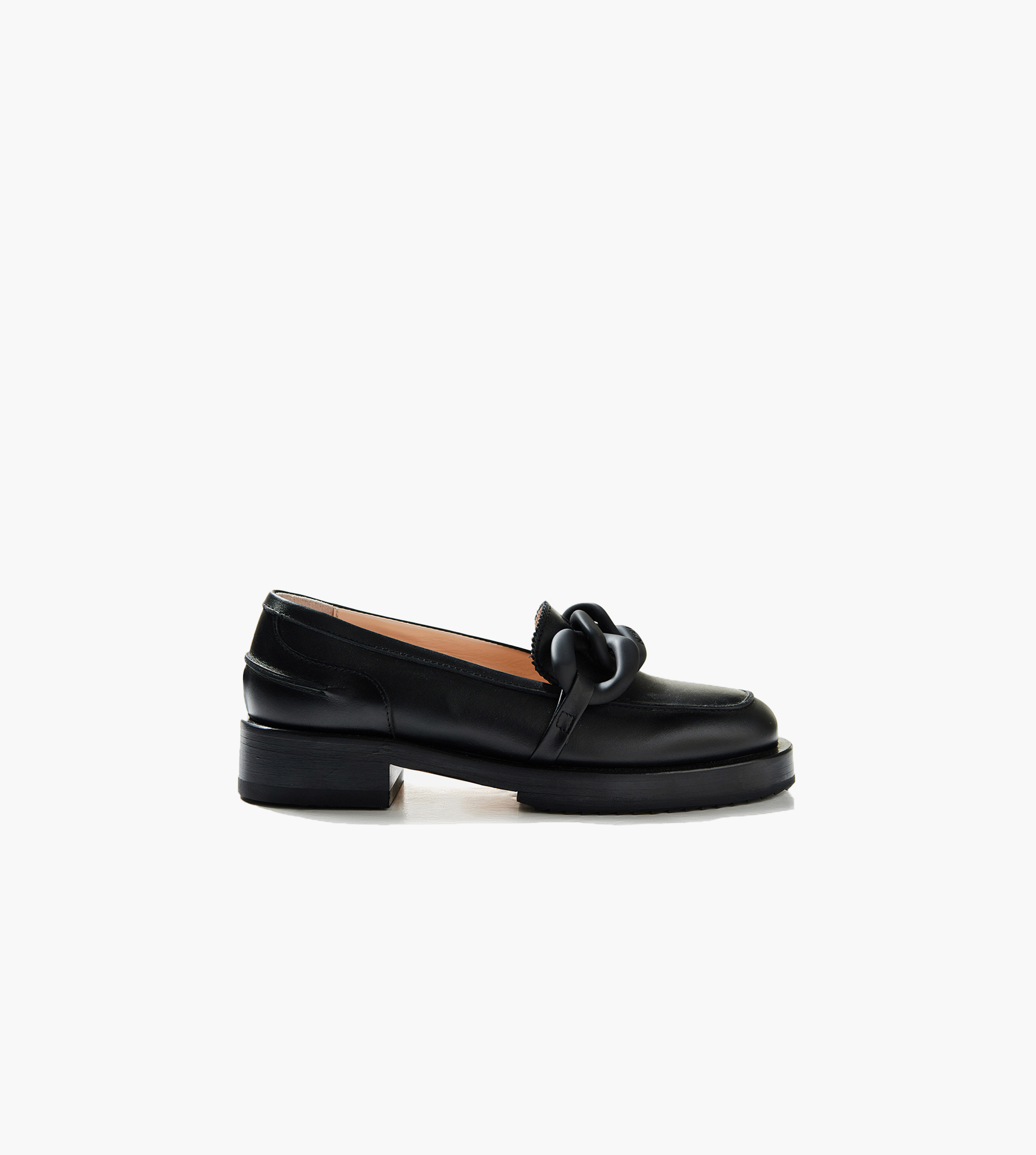 Chunky chain-embellished leather loafers