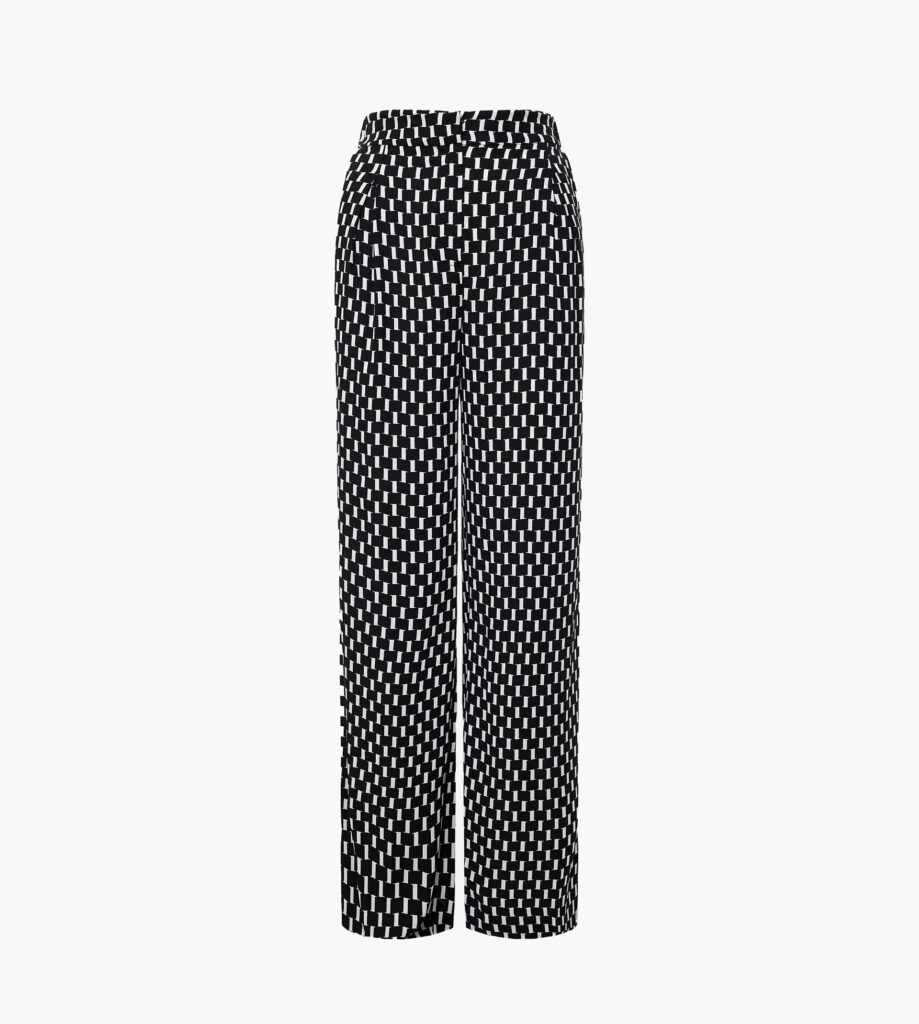 Brianna crepe jacquard wide leg pants in mirrors