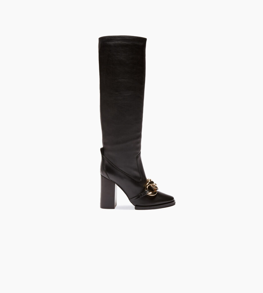 Chunky Chain-Embellished Knee-High Boots